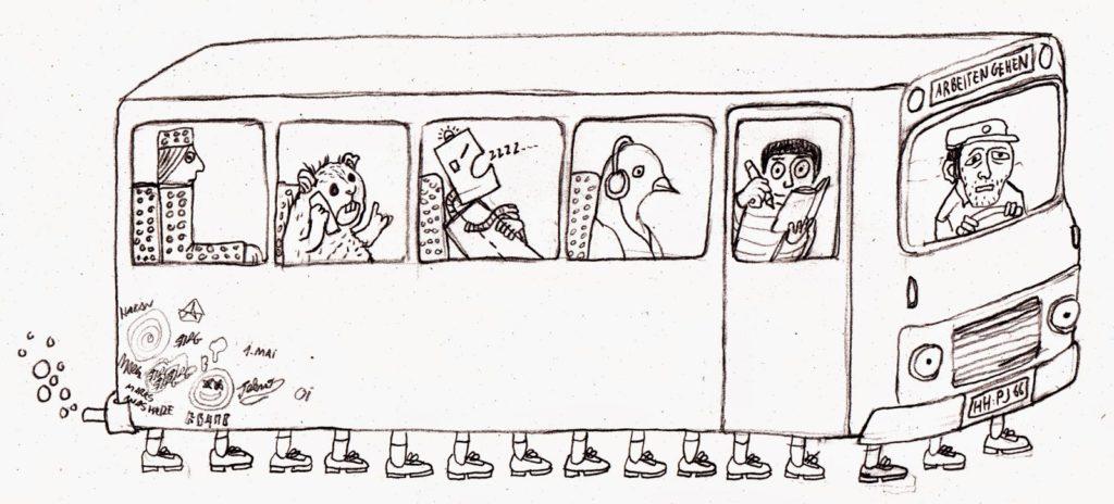 Bus mit Füssen